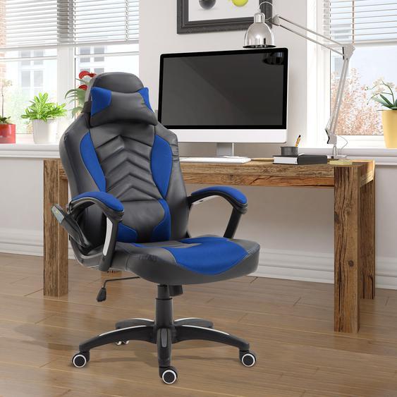 HOMCOM® Bürostuhl Ergonomisch Massagesessel Gamingstuhl Blau