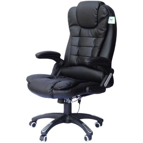 HOMCOM® Drehstuhl Büro Massage- und Wärmefunktion 62 x 68 x 111–121 cm Schwarz