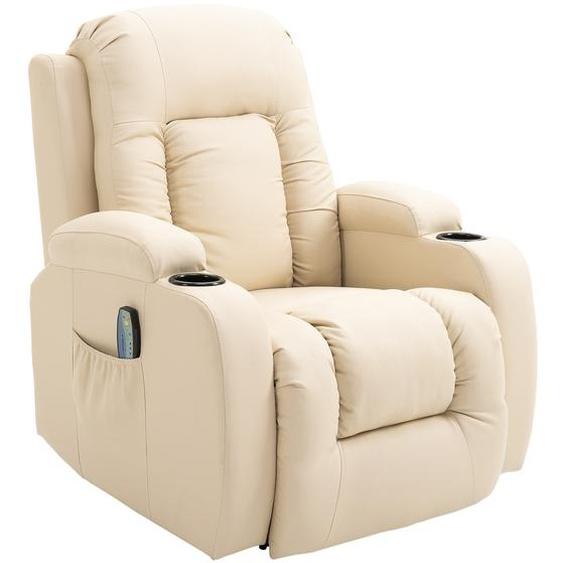HOMCOM® Massagesessel mit Wärmefunktion | Metall, Kunststoff | 90 x 93 x 103 cm | Creme