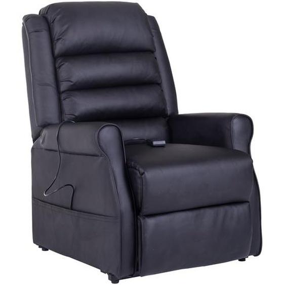 HOMCOM® Massagesessel mit Wärmefunktion | Aufstehhilfe | Eco-Leder, Kunststoff, Metall | 88 x 83 x 110 cm | Schwarz