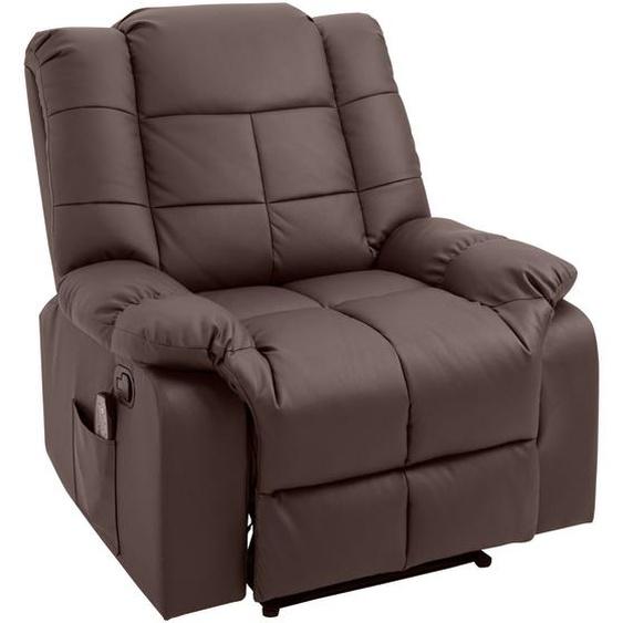 HOMCOM® Massagesessel mit Wärmefunktion Fernsehsessel Relaxsessel Braun