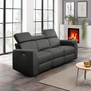 Home affaire 3-Sitzer »Sentrano«, wählbar zwischen manueller oder motorischer Relaxfunktion mit USB-Anschluß, auch in NaturLEDER