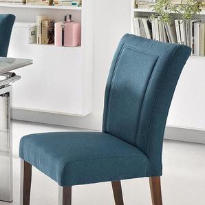 Home affaire 4-Fußstuhl Zena, Gestell aus Massivholz B/H/T: 48 cm x 93 65 cm, 2 St., Microfaser blau 4-Fuß-Stühle Stühle Sitzbänke
