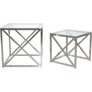 Home affaire Beistelltisch, Sicherheits-Glasplatten, chromfarben (2er Set)