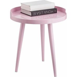 Home affaire Beistelltisch, rosa, rund, ,