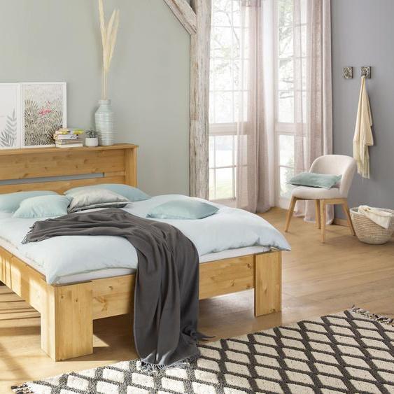 Home affaire Bett Katryn 140x200 cm Höhe Bettseite: 21 beige Massivholzbetten Betten