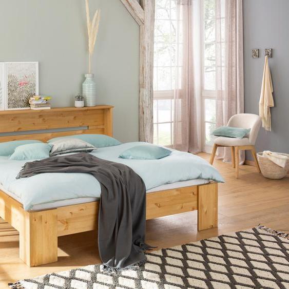 Home affaire Bett Katryn 180x200 cm Höhe Bettseite: 21 beige Massivholzbetten Betten