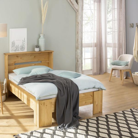 Home affaire Bett Katryn 90x200 cm Höhe Bettseite: 21 beige Massivholzbetten Betten
