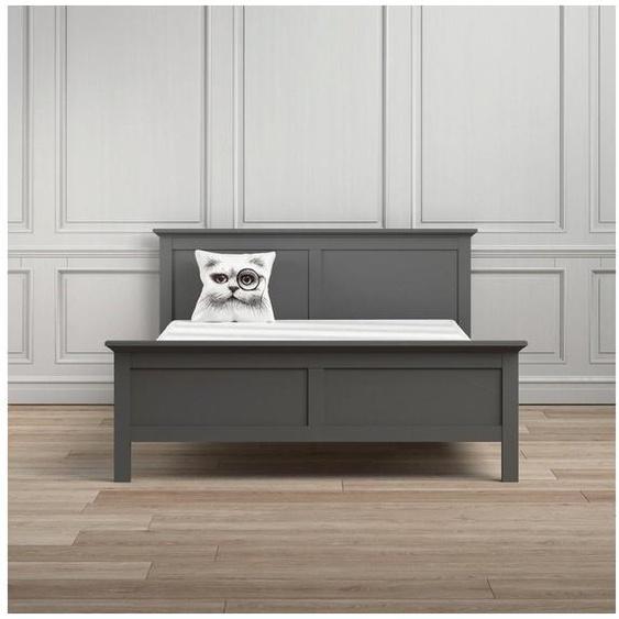 Home affaire Bett »Paris«, in romantischer Landhausoptik aus grau foliertem Holzfurnier