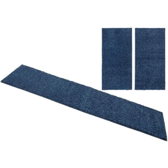 Home affaire Bettumrandung Shaggy 30, gewebt, 2- oder 3-teilig 14 (2x Brücke 140x70 cm & 1x Läufer 250x70 cm), 30 mm blau Shaggy-Teppiche Hochflor-Teppiche Teppiche