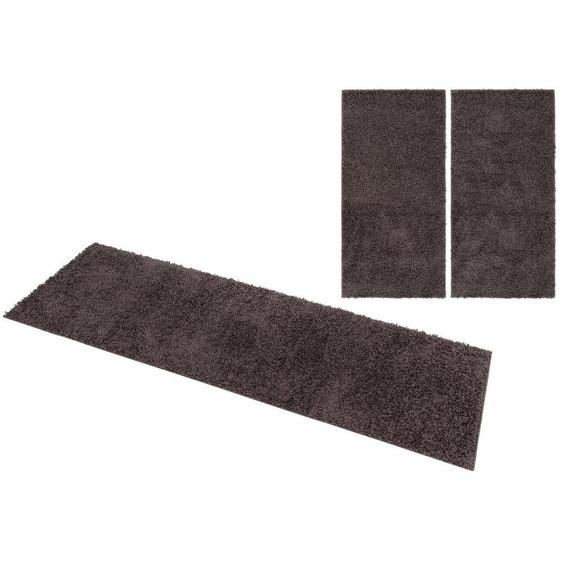 Home affaire Bettumrandung Shaggy 30, gewebt, 2- oder 3-teilig 14 (2x Brücke 140x70 cm & 1x Läufer 250x70 cm), 30 mm grau Shaggy-Teppiche Hochflor-Teppiche Teppiche