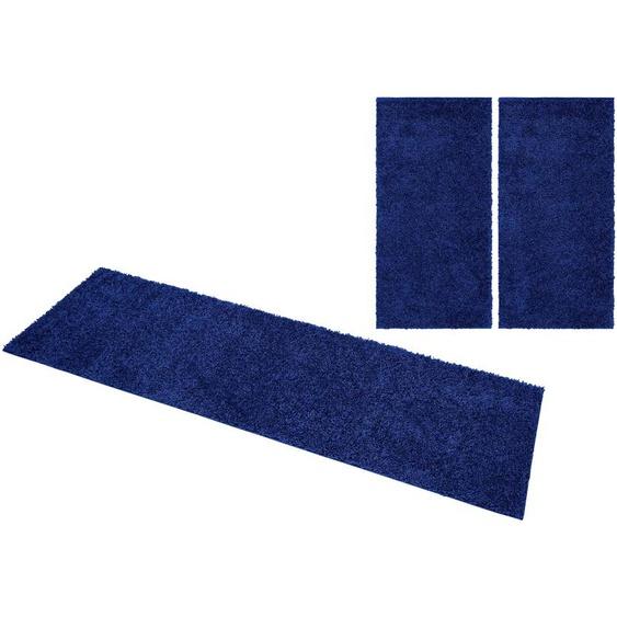 Home affaire Bettumrandung Shaggy 30, gewebt, 2- oder 3-teilig B/L (Brücke): 80 cm x 150 (2 St.) (Läufer): 340 (1 St.), U-förmig blau Bettumrandungen Läufer Teppiche