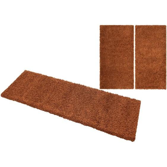 Home affaire Bettumrandung Shaggy 30, gewebt, 2- oder 3-teilig 15 (2x Brücke 150x80 cm & 1x Läufer 340x80 cm), 30 mm braun Shaggy-Teppiche Hochflor-Teppiche Teppiche