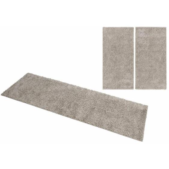 Home affaire Bettumrandung Shaggy 30, gewebt, 2- oder 3-teilig 15 (2x Brücke 150x80 cm & 1x Läufer 340x80 cm), 30 mm grau Shaggy-Teppiche Hochflor-Teppiche Teppiche