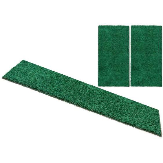 Home affaire Bettumrandung Shaggy 30, gewebt, 2- oder 3-teilig B/L (Brücke): 80 cm x 150 (2 St.) (Läufer): 340 (1 St.), U-förmig grün Bettumrandungen Läufer Teppiche