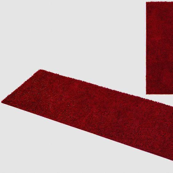 Home affaire Bettumrandung Shaggy 30, gewebt, 2- oder 3-teilig B/L (Brücke): 80 cm x 150 (2 St.) (Läufer): 340 (1 St.), U-förmig rot Bettumrandungen Läufer Teppiche