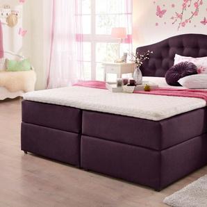 Home affaire Boxspringbett , lila, 180x200 cm, Strukturstoff, H2, »Amber«, , , Härtegrad 2