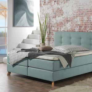 Home affaire Boxspringbett »Cecina«, blau, 100x200 cm, Struktur fein, H2, , , Härtegrad 2