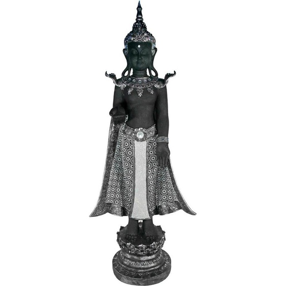 Casa Collection by Jänig Buddhafigur, stehend, schwarz-silber, Höhe 119 cm, Breite 44 cm