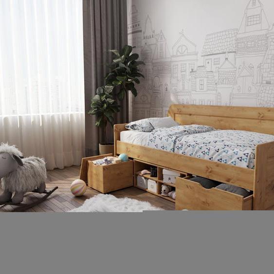 Home affaire Daybett »Alda«, beige, Material Kiefernholz, mit Bettkasten»Alda«