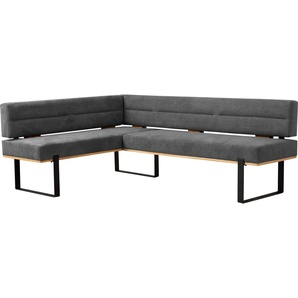 Home affaire Eckbank Erin, mit Wellenunterfederung im Sitz B/H/T: 162 cm x 85,5 222 cm, Struktur, langer Schenkel rechts grau Eckbänke Sitzbänke Stühle