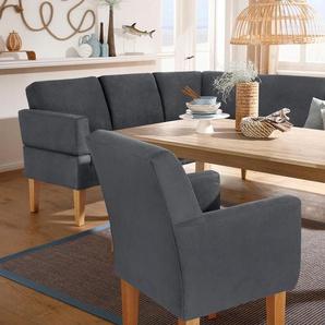 Home affaire Eckbank Fehmarn, wahlweise langer Schenkel links oder rechts Microfaser Antiklederoptik, grau Sitzbänke Nachhaltige Möbel