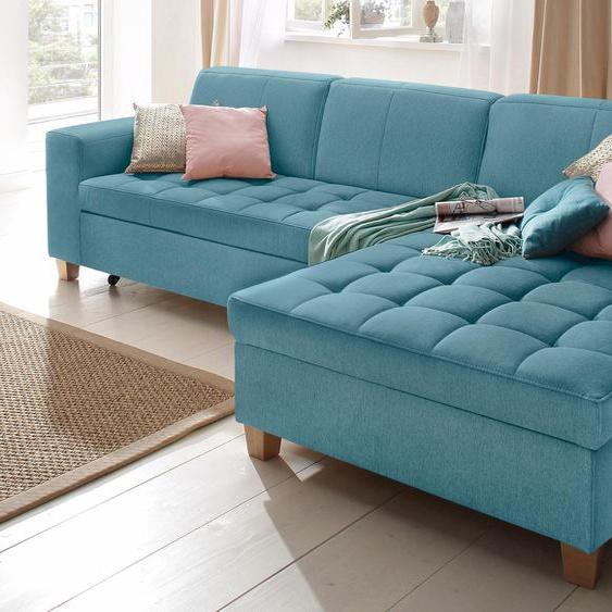 Home affaire Ecksofa, mit Bettfunktion, Récamiere rechts oder links, FSC®-zertifiziert, blau »Corby«, mit Schlaffunktion