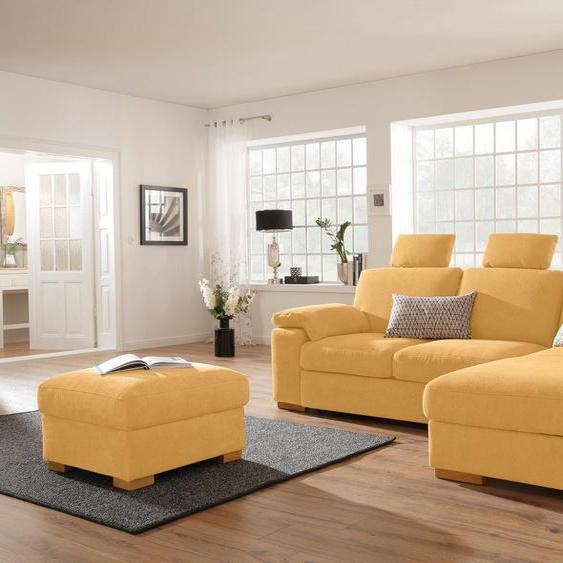 Home affaire Ecksofa, Récamiere rechts oder links, gelb »Ventura«, mit Schlaffunktion mit Bettkasten