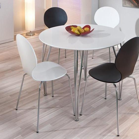 Ess-Tisch, 100x75x100 cm (BxHxT), Landhaus-Stil, Home affaire, Material Metall, Chrom, MDF