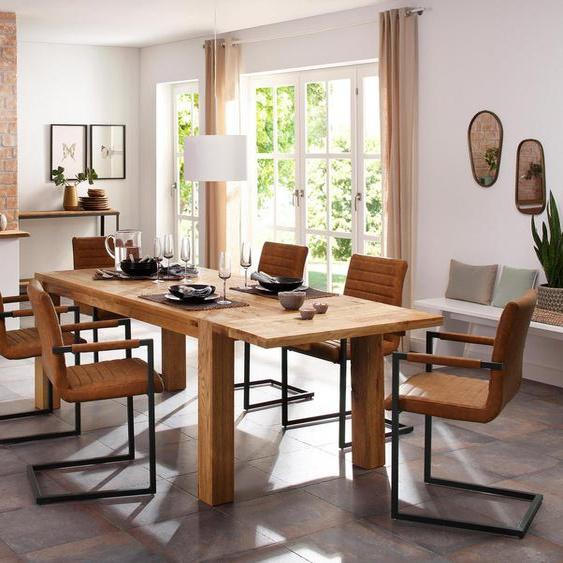 Home affaire Essgruppe »Alberte«, (Set, 7-tlg), bestehend aus dem Sabina Stuhl + Marianne Esstisch mit Ansteckplatte