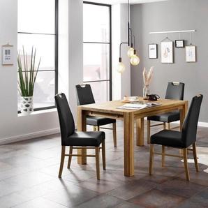 Home affaire Essgruppe »Nils«, (Set, 5-tlg., Tisch 140/90 cm, 4 Polster-Stühle), aus Massivholz