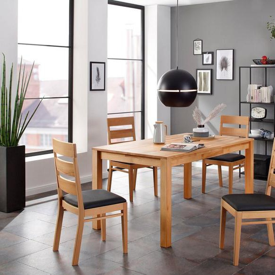 Home affaire Essgruppe »Soeren 3«, (Set, 5-St., Tisch 160/90 cm, 4 Stühle, Polstersitz), aus Massivholz
