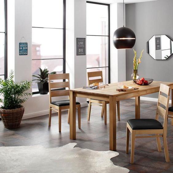 Home affaire Essgruppe »Soeren 4«, (Set, 5-St., Tisch 180/90 cm, 4 Stühlen, Polstersitz), (Set, 5-tlg., Tisch 180/90 cm, 4 Stühle, Polstersitz), aus Massivholz