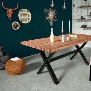 Home affaire Esstisch »Concepto«, aus Keilverzinkter Eiche, mit massiven Eichenholzbeinen in schwarz metallischer Optik, Breite 180 cm