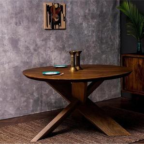 Home affaire Esstisch »Crosville«, mit weichen Formen und runder Tischplatte, gekreuzte Beine