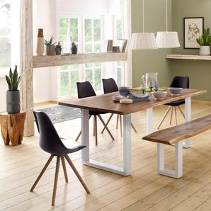 Home affaire Tisch »Lagos« (Set), bestehend aus dem Micala Esstisch, Micala Bank und 4 Brighton Stühlen