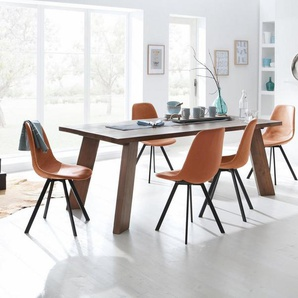 Home affaire Esstisch »Macon«, aus massivem Akazienholz und besonderen Beingestell, in unterschiedlichen Tischbreiten erhältlich
