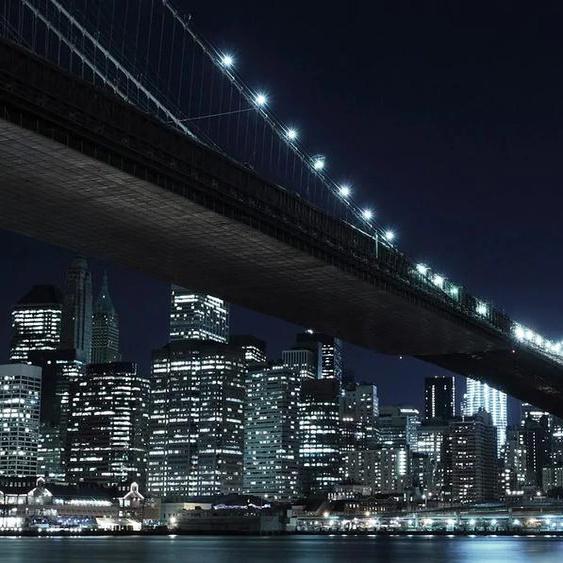 Home affaire Fototapete New York by night, 272/198 cm B/L: 2,72 m x 1,98 m, 8 St. schwarz Fototapeten Tapeten Bauen Renovieren