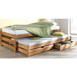 Home affaire Funktionsbett Torgny, mit 2. Schlafgelegenheit Liegefläche B/L: 90 cm x 200 Höhe: 50 cm, kein Härtegrad beige Massivholzbetten Betten