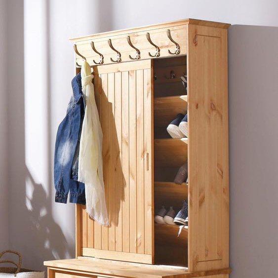 Garderobe  aus massiver Kiefer »Mia«, 88.5x176x50 cm (BxHxT), FSC®-zertifiziert, Home affaire, beige, Material Kiefer