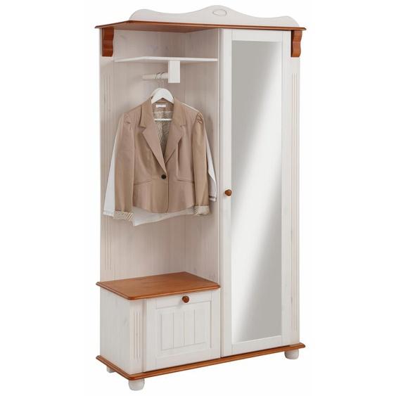 Garderobe  aus massiver Kiefer »Adele«, 108x185x40 cm (BxHxT), Landhaus-Stil, FSC®-zertifiziert, Home affaire, weiß, Material Kiefer