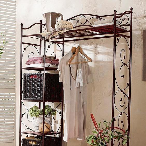 Garderoben-Schrank, 110x172x42 cm (BxHxT), Landhaus-Stil, Home affaire, braun, Material Metall