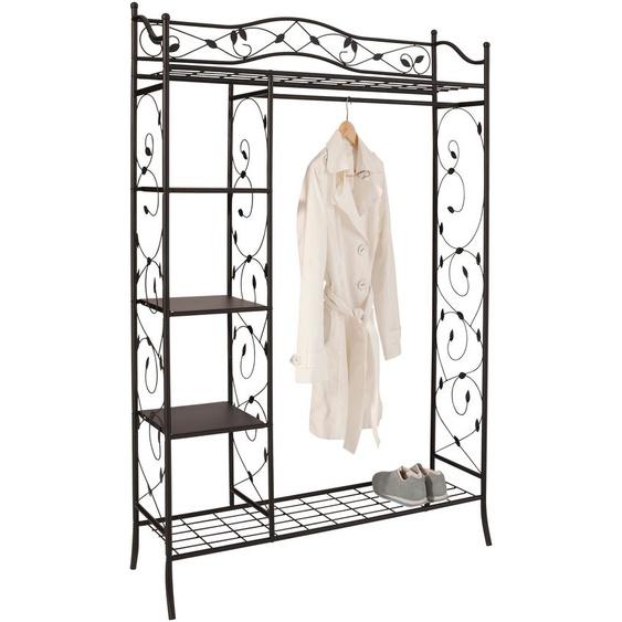 Garderoben-Schrank, 110x172x42 cm (BxHxT), Landhaus-Stil, Home affaire, schwarz, Material Metall