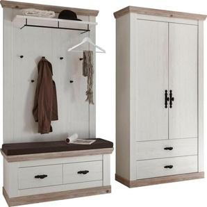 Home affaire Garderoben-Set »Florenz«, (3-St), bestehend aus 1 Bank, 1 Paneel und 1 Stauraumschrank