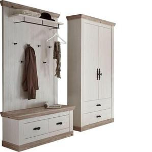 Home affaire Garderoben-Set »Florenz«, (4-tlg), bestehend aus 1 Bank, 1 Paneel, 1 Kommode, 1 Spiegel und 1 Stauraumschrank