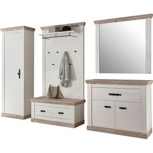 Home affaire Garderoben-Set »Florenz«, (5-tlg., 6 tlg. mit Kissen), bestehend aus 1 Bank, 1 Paneel, 1 Spiegel und 1 Kommode und Garderobenschrank