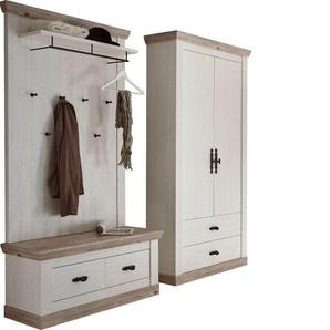 Home affaire Garderoben-Set »Florenz«, (5-tlg), bestehend aus 1 Bank, 1 Paneel, 1 Kommode, 1 Spiegel und 1 Stauraumschrank