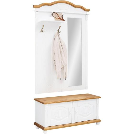 Garderobenschrank »Bavaria«, 113x213x39 cm (BxHxT), FSC®-zertifiziert, Home affaire, weiß, Material Massivholz, Kiefer