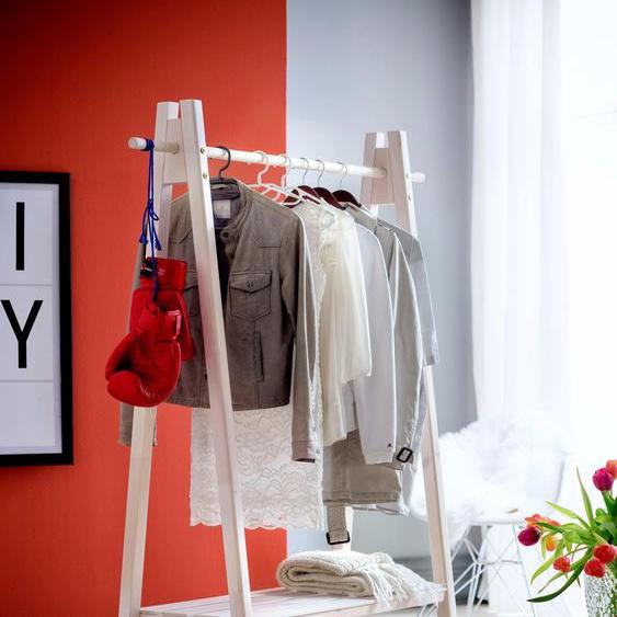 Garderobenständer »Ward«, 125x170x47 cm (BxHxT), Landhaus-Stil, Home affaire, weiß, Material Fichtenholz