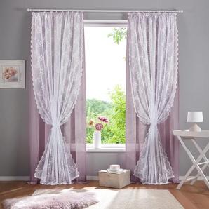 Home affaire Gardine Juno, Doppellagig 295 cm, Kräuselband, 140 cm rosa Gardinen Vorhänge